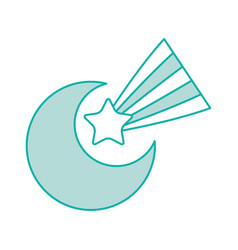 cute moon shooting star vector image