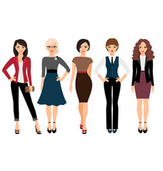 cute young women in different clothes vector image vector image