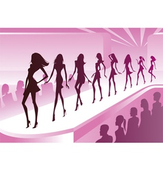 Fashion models show new clothes at a review vector image vector image