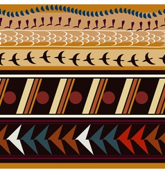 Seamless with ethnic patterns and silhouettes vector image
