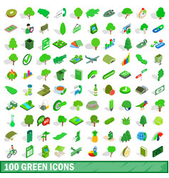 100 green icons set isometric 3d style vector image