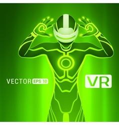A man in a virtual reality helmet vector