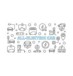 all-electric car horizontal outline banner vector image
