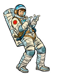 Astronaut young man points isolate on a white vector