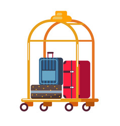 Baggage or luggage suitcases on golden cart hotel vector