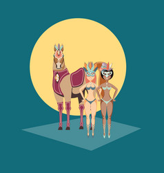 Beautiful women with circus horse carnival vector