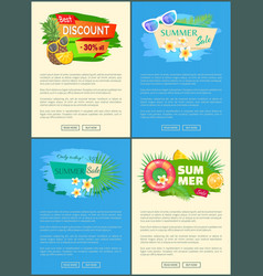 best discount 30 percent summer sale set posters vector image