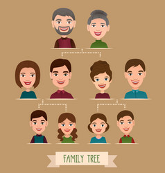 Big family tree cartoon concept with avatar icons vector