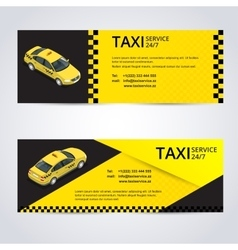 Black and yellow taxi card with taxi car image vector image