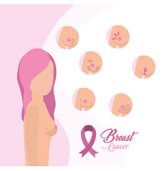 Breast cancer treatment and pink ribbon vector