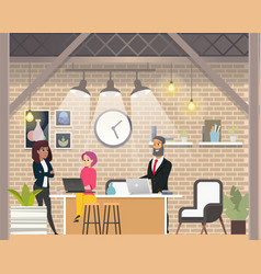 business interview in modern open space coworking vector image
