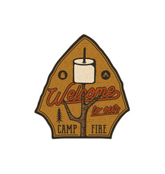 campsite logo emblem vintage hand drawn travel vector image