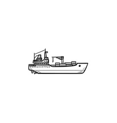 cargo container ship hand drawn outline doodle vector image