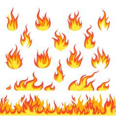 Cartoon fire set hot temperature curve painting vector
