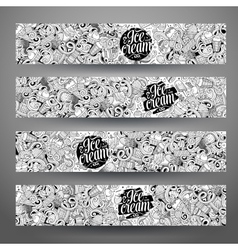 Cartoon line art doodles ice cream banners vector image