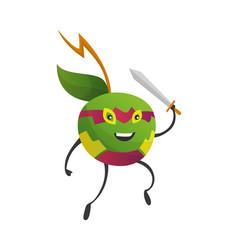Cartoon superhero apple fruit in mask vector