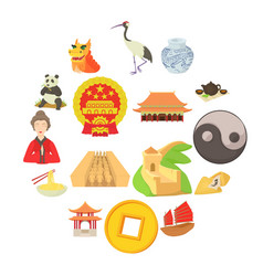 China travel sport icons set cartoon style vector
