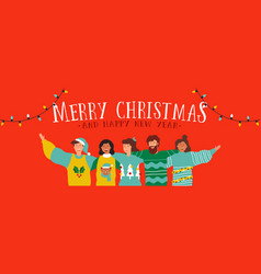 Christmas and new year diverse people group banner vector
