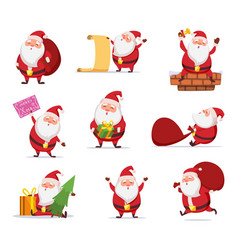 christmas characters funny santa in dynamic vector image