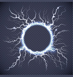 Circle lightning realistic transparent background vector