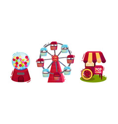 Circus attribute with popcorn cart and ferris vector