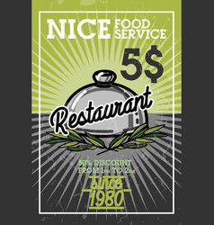 Color vintage restaurant banner vector