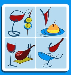 Colorful doodle sketches of Spanish wine vector