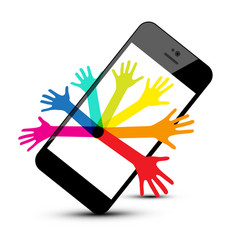 Colorful hands on phone isolated on white vector