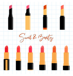 colorful lipstick collection set flat design vector image