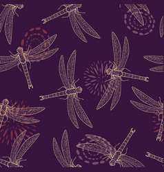 colorful seamless pattern with dragonfly vector image