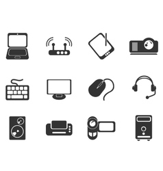 Computer equipment simple icons vector image