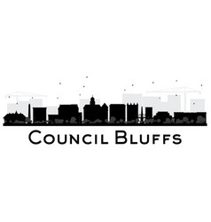 Council bluffs skyline black and white silhouette vector