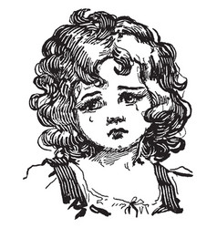 Crying girl with curly hair vintage engraving vector