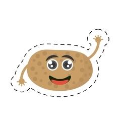 Cute cartoon potato ripe fresh cut line vector