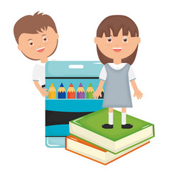 cute little students couple with colors pencils vector image