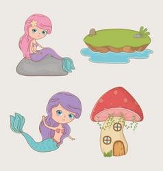 Cute mermaid fairytale character with items vector