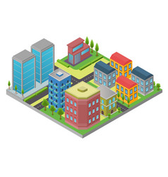 design in isometry of city element with road and vector image