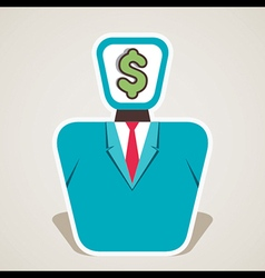 Dollar symbol on businessmen face vector