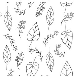 doodle seamless pattern with leaves vector image