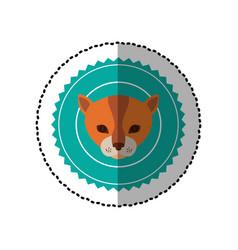 Emblem cat hunter city icon vector
