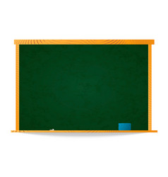 Empty green school chalkboard in wooden frame with vector