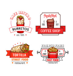 Fast food menu icons of fastfood restaurant vector