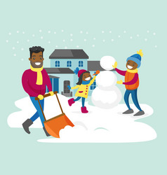 Father removing snow while his kids making snowman vector