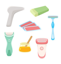 flat hair removal tools set vector image