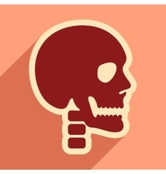 Flat icon with long shadow human skull vector