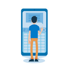 flat man standing behind huge phone vector image
