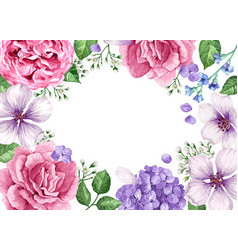 Floral banner template flowers in watercolor vector