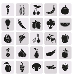 Food Icon set Vegetables and meat on button vector image