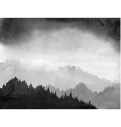forest valley in fog and black clouds traditional vector image