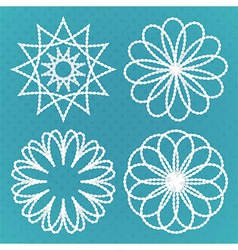 Four vintage round ornaments set vector image